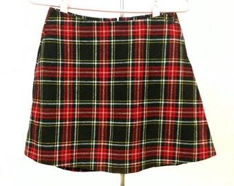 70s Vintage //S Small\\ SKORT Shorts Skirt PLAID Clueless Red + Brown
