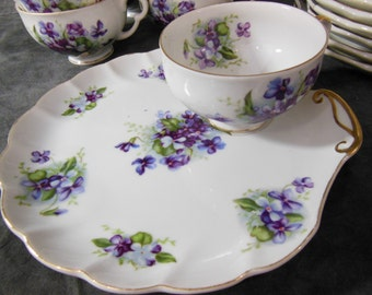 Tea Set of 8, Tea Cup and Snack Plate by Dragon China - Made in Japan