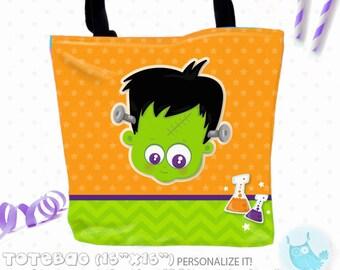 SALE frankenstein  Personalized Tote Bags, custom Tote bag, kids tote, school tote, kindergarten tote, beach tote bag, Tote Bags TB142
