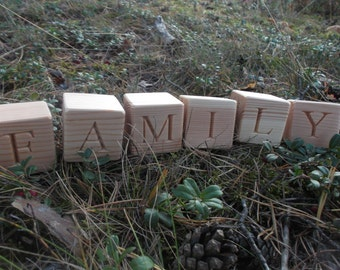 Personalized Wood Blocks Wooden Alphabet Blocks Wood Cubes ABC Blocks Eco Wooden Blocks Natural Alphabet Blocks Personalized Baby Name Block