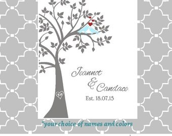 SVG love birds tree wedding date names digital file PNG EPS