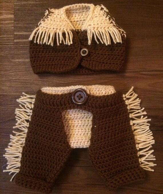 Crochet Baby Cowboy Chaps Pattern : Crochet Cowboy Vest Diaper Cover & Chaps Brown Tan Baby