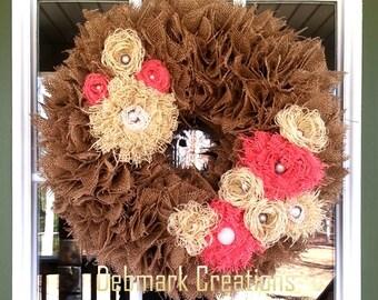 Burlap wreath, Shabby chic wreath, Burlap flower wreath, Front door wreath, Everyday wreath