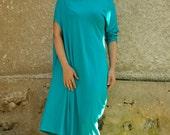 Aqua blue loose cotton Lycra dress/Long tunic/Maxi blue tunic/Plus size dress/Maxi dress/Woman loose blue top tunic/Handpainted dress/T1471