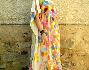 Amazing Long 100% silk tunic/Hand painted silk tunic/Oversize dress/Loose dress/Painting by hand silk/Quality silk dress/Luxury summer dress