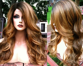 Ombre Lace Front Wig // Blonde Brown Ombre + Heat SAFE // LACE Part Curly Wig w/ Wavy Black Dark Roots
