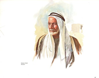 The Bedouin Sheik and the Jordan River painted by Gordon Wetmore for the book Promise Land