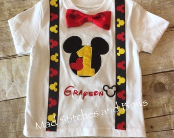 Mickey mouse custom embroidered birthday shirt. With bow tie and suspenders