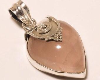 925 Solid Sterling Fine Silver Pink Rose Quartz Pendant
