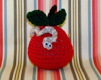 CROCHET APPLE PINCUSHION-Red Apple With Green Leaves And Worm-Googly Eyes-Cute-Adorable-Fun-Sewing-Notions-Pins-#0003