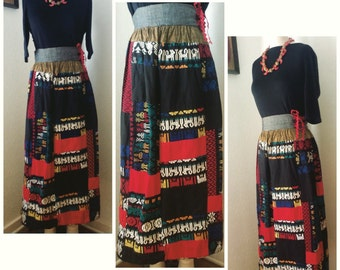 Colorful vintage embroidered Guatemalan maxi skirt. Perfect and ready to wear!