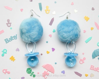 Pacifier pom pom earrings -  Pastel blue pom-pom earrings -  Light blue baby girl earrings - Paci earrings - Cry baby earrings