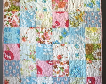 Shabby Chic Baby Quilt-Country Cottage-Cottage Nursery Bedding-Shabby Chic Quilt-Shabby Chic Nursery Decor-Homemade Quilt-Pastel Floral Rose