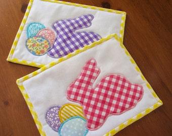 Easter Mug Rugs - Set of Two; Snack Mats; Bunny Mug Rug; Easter Trivets; Spring Table Linens; Mug Rugs for Kids