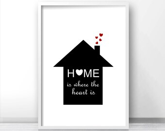Printable wall art quote,  Black and white print, Digital printable art Home is where the heart is,  Downloadable print, House warming gift