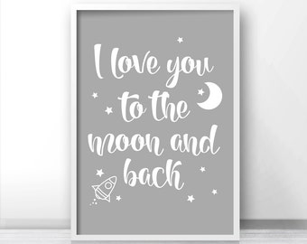Gender Neutral Nursery Art Print, Printable Kids Wall Art, Nursery Quote Printable, Moon And Stars Nursery Print, Rocket, Gray Nursery Decor