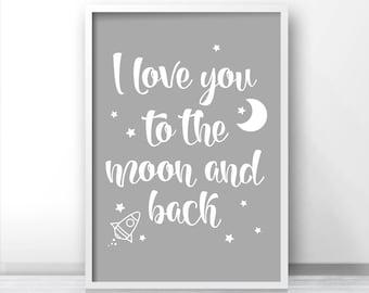Gender Neutral Nursery Art Print, Printable Kids Wall Art, Nursery Quote Printable, Moon And Stars Nursery Print, Rocket, Gray Nursery Decor