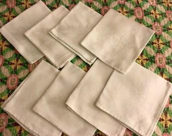 8 vintage damask luncheon napkins