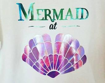 mermaid shirt, holographic, mermaid, holographic t shirt, mermaid gift, mermaid top, mermaid shell shirt, mermaid at heart, mermaid at heart