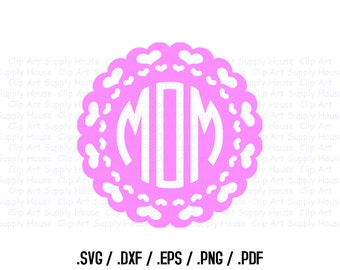 Heart Mandala Circle Monogram Frame Design Files, Use With Silhouette Software, DXF Files, SVG Font, EPS File, Svg Font, Silhouette - CA303