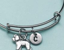 Bichon frise bangle, bichon frise charm bracelet, expandable bangle, charm bangle, personalized bracelet, initial bracelet, monogram