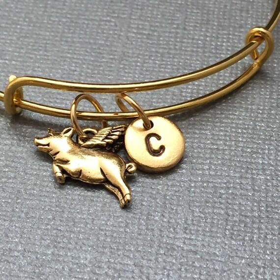 flying pig bangle flying pig charm bracelet expandable