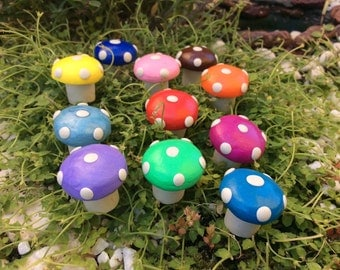 Colourful fairy garden toadstools