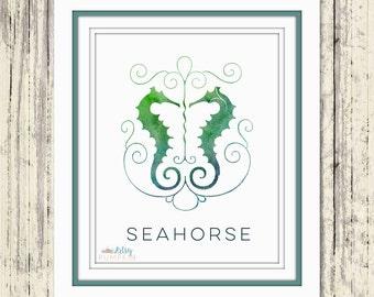 Coastal Living Decor - Green Seahorses - Coastal Decor - Beach Decor - Seahorse Print