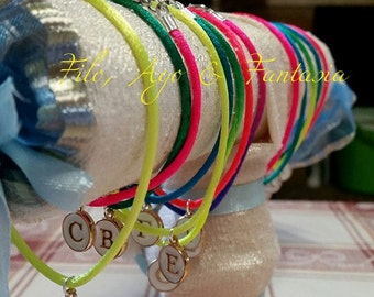 Bracelet Fluo colours with initial