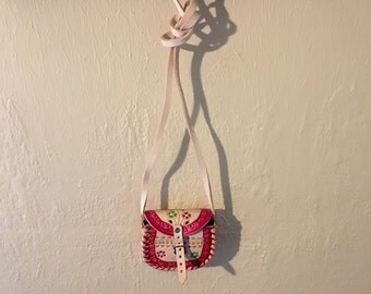 Small pink Mexican leather toddler purse