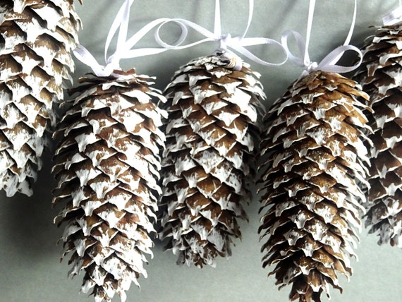 Items similar to pine cone decor wedding decor set of 5 for Fir cone christmas tree decorations