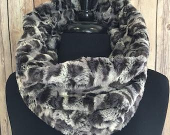 Faux Fur Cowl Scarf- Denim Bobcat Circle Scarf- Fashion Snood Scarf Gray and Blue Faux Fur Scarf Gray Animal Print