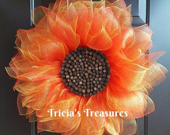 Red Sunflower Wreath, Deco Mesh Sunflower Wreath, Front Door Wreath, Spring Wreath, Summer Wreath, Red Orange Sunflower Wreath