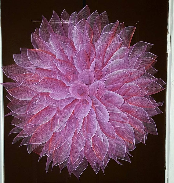 Dahlia Mesh Wreath Pink Purple XL