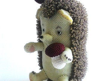 """Pattern / Tutorial Beaded Ornament - Master class for creating """"Hedgehog Bead"""""""