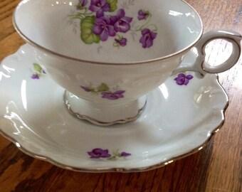 Schumann Arzburg Bavarian Teacup and Saucer in Violette Pattern Gold Trim