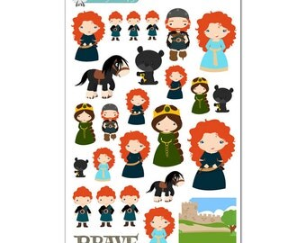 Brave (Merida) Stickers - Disney Planner Stickers
