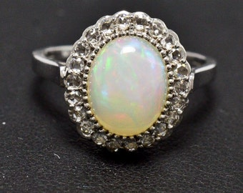 Opal, Diamonds, 14K White Gold Ring 3.3 grams