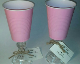Pink Solo Cup (Set of 2) Unique Drinkware-Party Bachelorette-Fancy Cup-Solo Cup-Girls Weekend-Sassy-Birthday-Bridal Shower