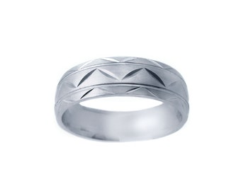 14k White Gold Zig-Zag Wedding Band