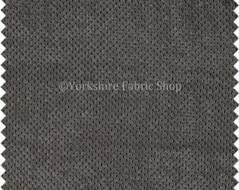 New Designer Bubble Dotted Soft Cord Corduroy Upholstery Fabric Charcoal Grey Material For Sofas Furnishing Interior - Sold By The Metre