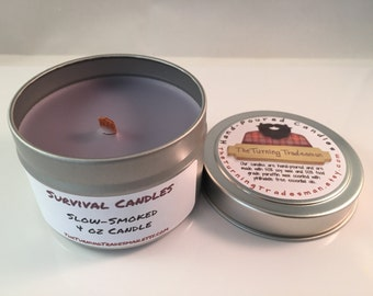 Slow-Smoked Candle -  Camp Fire Scent - Soy Wax/Paraffin - Tin Candle - Survival Candle -  Manly Candle - Burly Candle - 4 oz Candle