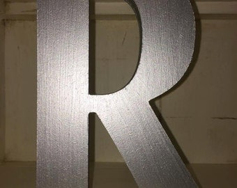Metallic Silver Large Letters, Painted Wooden Letters - 20cm Large Letters - Large Colour Letters, Metallic Silver Letters