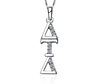 """Delta Tau Delta Lavalier for Sweetheart - Sterling Silver; with 18"""" Silver Chain (DTD-P001)"""