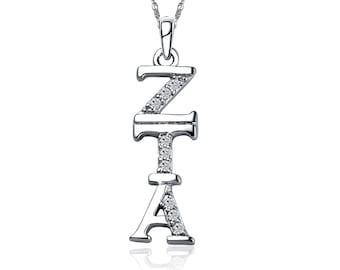Zeta Tau Alpha Lavalier - Vertical Design, Sterling Silver  (ZTA-P001)