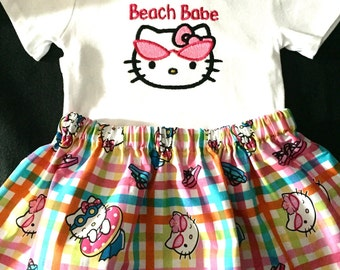 Hello Kitty beach babe onesie, Hello kitty tutu, beach babe, infant, toddler, bodysuit, tutu, summer. Hello kitty onesie