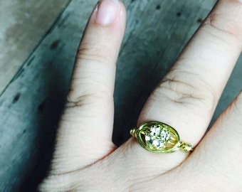 Gold wire ring with rhinestone bead, dainty, simple, great gift