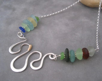Sea Glass Jewelry - Hammered Silver - Multi Color Seaglass - Beach Glass - Silver Wave -  Collar - Summer Style - Aqua - Blue- Amber