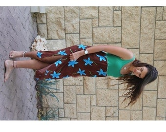 Ladies upcycled Green Brown and Turquoise Dress with big printed flowers