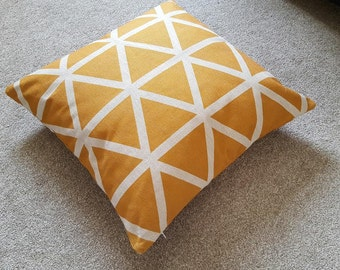 "Mustard Yellow Triangle/Geometric/Scandi Cotton Linen Floor Cushion/Pillow Cover in 26 x 26"""